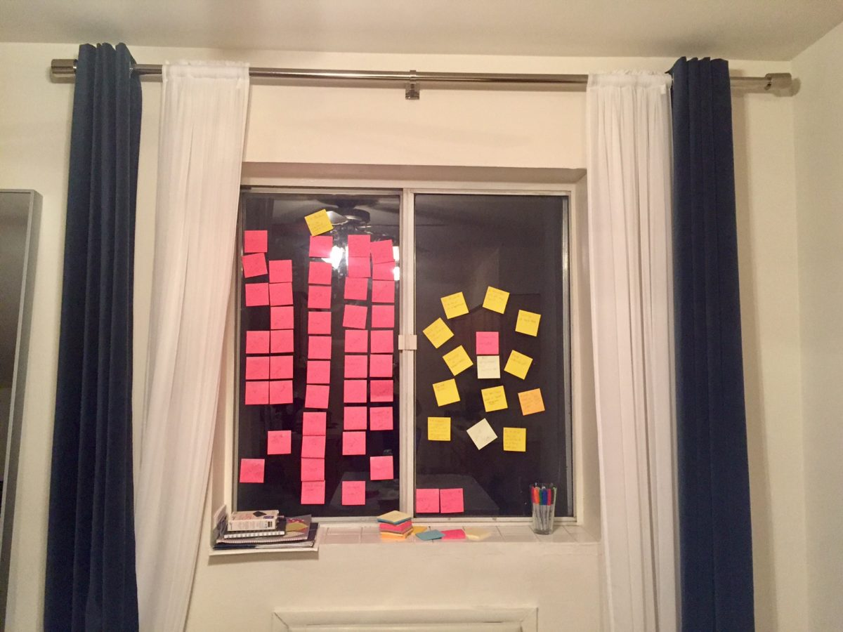A window, covered in pink sticky notes. Credit: Talisha Payton