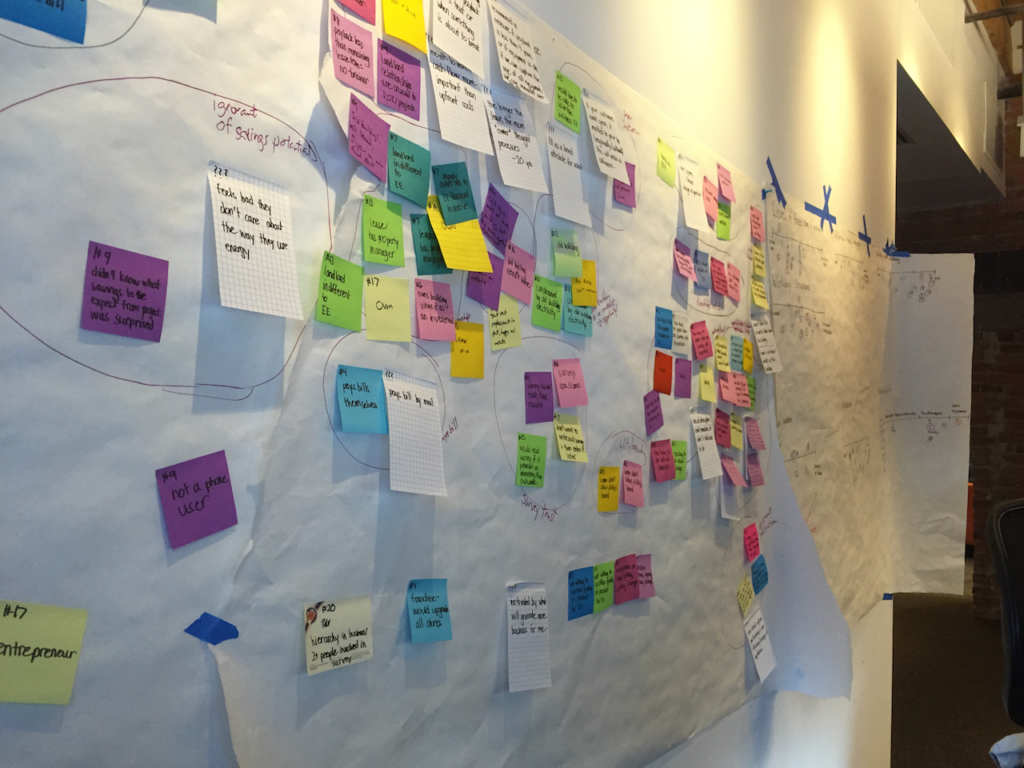 Affinity diagram with post-its stuck to butcher paper, hanging on a wall.