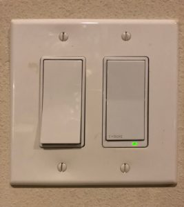 Two paddle switches - the very flat toggle-able switches almost the size of your palm. The one on the right has a small glowing light on it to make it easier to find when it's off.
