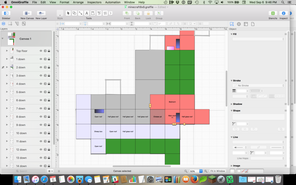 A screenshot of the application Omnigraffle showing that the lunatic author has made a layer in the diagram for every floor of her Minecraft world, and mapped each floor in a different color, and added labels and grass areas and all kinds of other things. All rooms are square. Stairwells are represented as well.