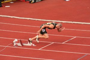 Jeremy Wariner leaving the starting blocks, 2007.