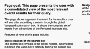 "Screenshot of text from a wireframe. ""Page goal: this page presents the user with a consolidated view of the most relevant overall results for their query. This page shows a general treatment for the results a user will se after submitting a search through the global Vanguard.com search box. It shows the complete set of results from all sections of the Personal Investors site. Features of note on this page include..."" After this, the screenshot shows a few irrelevant lines about the static location of the search box."