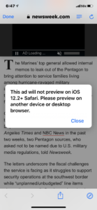 Screenshot of a popup ad on Newsweek's website that says this ad will not preview on IOS 12.2 Safari. Please preview on another device or desktop browser.