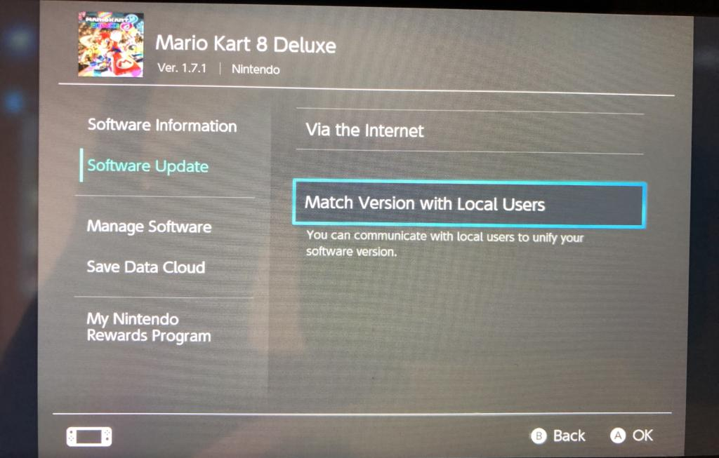 Mario Kart 8 Deluxe Software Update screen with Match Version with Local Users selected