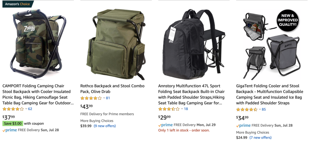 Three backpacks that let you unfold a metal frame so you can sit on top of the backpack, one backpack with a metal frame that lets you sit on a pad next to the backpack.