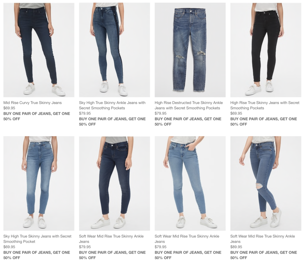 Eight search results with pictures: mid rise curvy true skinny, sky high skinny ankle with secret pockets, high rise ripped jeans with pockets, high rise true skinny jeans with pockets, sky high rise true skinny jeans with pockets, soft wear mid rise true skinny ankle jeans in dark blue, soft wear mid rise true skinny ankle jeans in light blue with working pockets, and soft wear mid rise true skinny ankle jeans with a hole in the knee. And that's eight out of thirty three results... sigh....