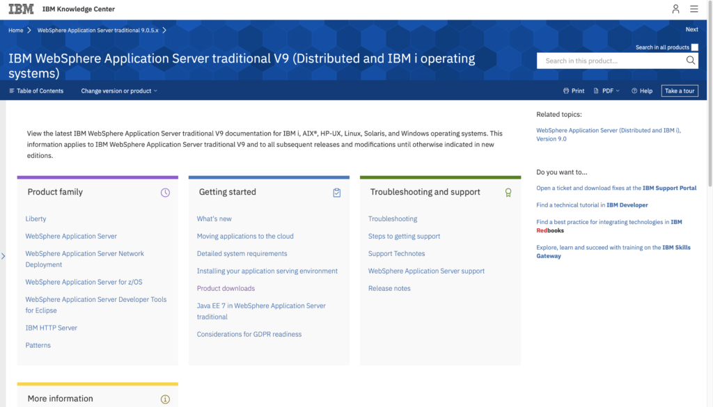 IBM's topic page for the web sphere application server traditional v9 edition - with sections for product family, getting started, troubleshooting and support, top tasks, related topics, more information , breadcrumbs for navigating up the hierarchy, and a link to an actual functioning table of contents.