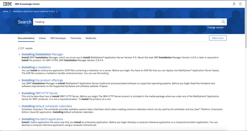 A search on the previously-mentioned page for the word installing, which displays a search results page with only five filters formed into a tabset: documentation, videos, IBM Developer, tech notes, and RedBooks. The Documentation tab has 1,717 results and no way to filter them short of changing the search string.