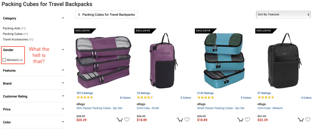 "Product list with left filters that indicate we're filtered to packing cubes for travel backpacks (11 results), and one can filter by the gender of ""women"" (9 results)"