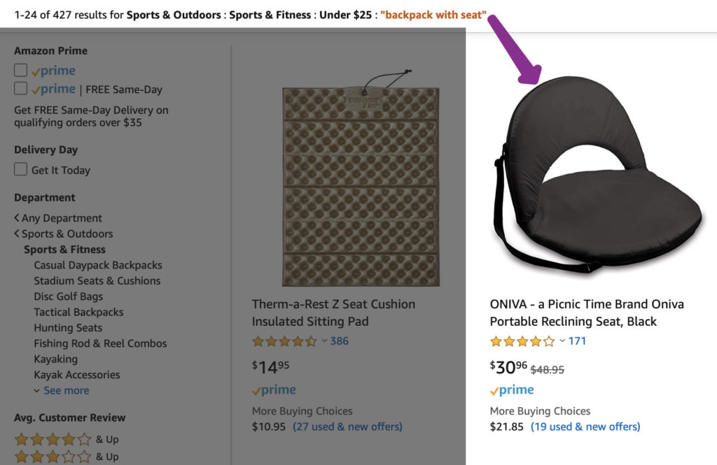 The search filter is set to sports and outdoors: sports and fitness: under $25 backpack with seat and the second search result is a $30 portable reclining seat that lacks a backpack