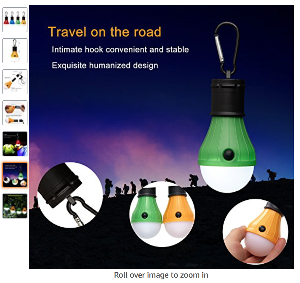 An Amazon ad for an LED light with a carabiner hook on the end appropriate for hanging from the top of the inside of a tent. It states Travel on the Road, intimate hook convenient and stable, exquisite humanized design