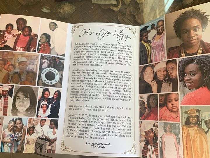 Photo of a tri-fold paper describing Talisha. The left and right sections are filled with photos of Talisha and her family. The center section is entitled Her Life Story. Transcript follows this photo.