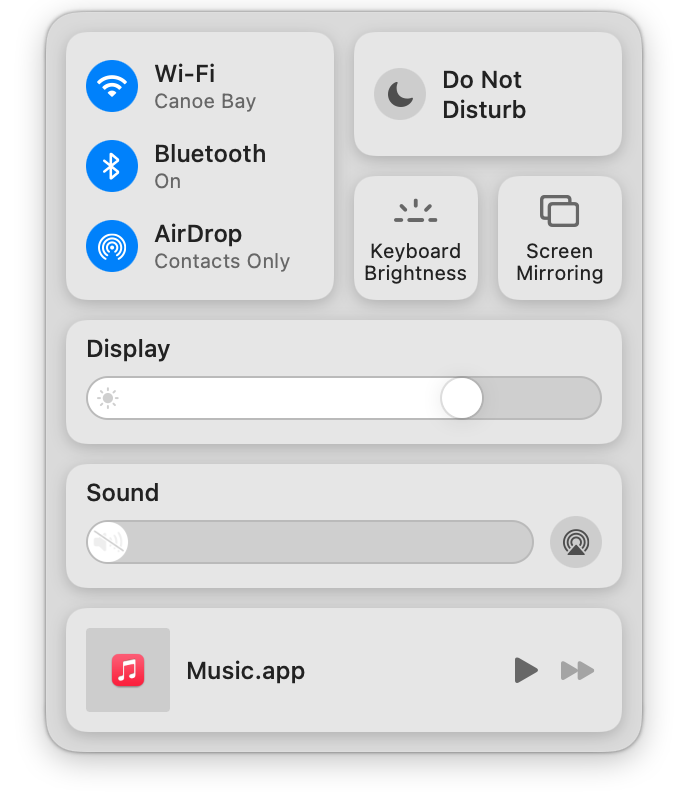 a screenshot of the Control Center in Big Sur, showing multiple rounded rectangle items and controls.