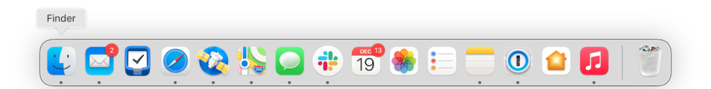 a screenshot of the Dock in Big Sur, showing apps in rounded rectangles except for a select couple that are round.