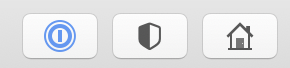 Three buttons in Safari for 1Password, the privacy report, and the homepage in Safari 14. The 1Password button has a blue icon, the other two have black and white icons and are provided by Safari.