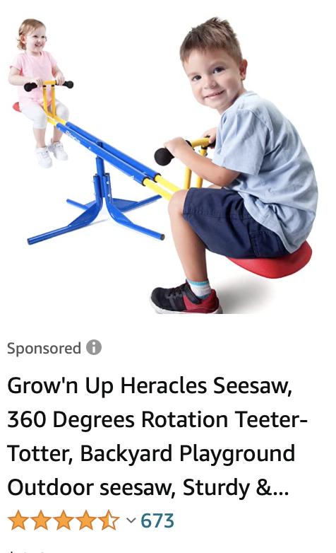 Horrible photoshop foreshortening with small girl on one end of see saw and much larger boy on the other end closer to the camera