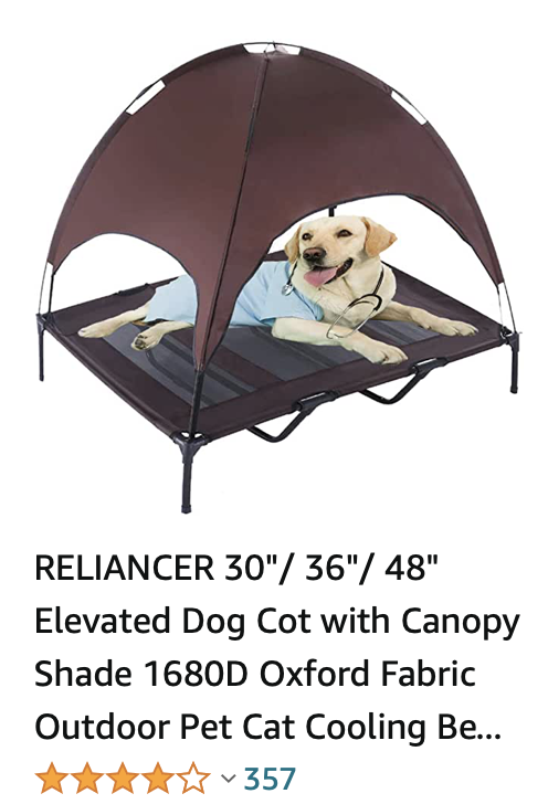 A golden retriever photoshopped so that it is flat on an elevated dog bed.